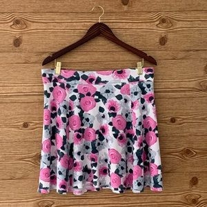 H&M FLORAL SKIRT STRETCHY ROSES PINK GREY